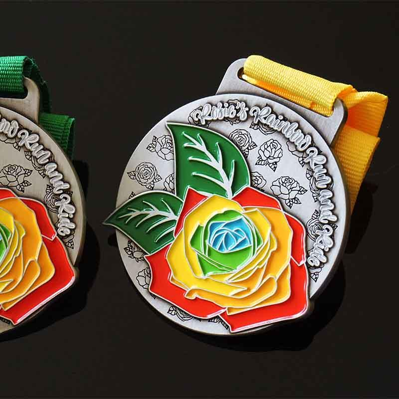 Wholesale Cheap Custom Design Your Own Blank Zinc Alloy 3D Antique Silver Metal Medals With Soft Enamel And Ribbon