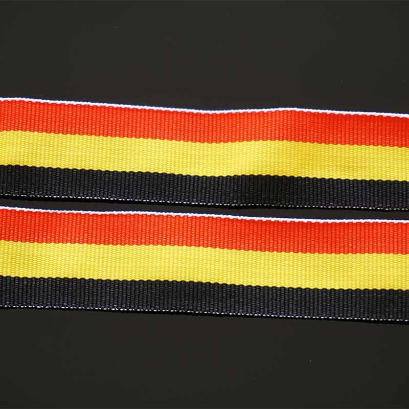 Custom Polyester Red / Yellow / Black Neck Woven Ribbon Lanyard With Any Holder For Sport Event