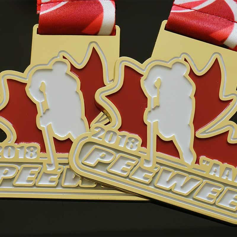 Die Casting Soft Enamel Sports Events Hockey And 5K Marathon Medals, Sublimated Ribbon