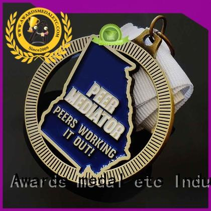 Custom You Design Die Casting Soft Enamel Metal Medals With Cut Out Style, Antique gold Plating And White Ribbon