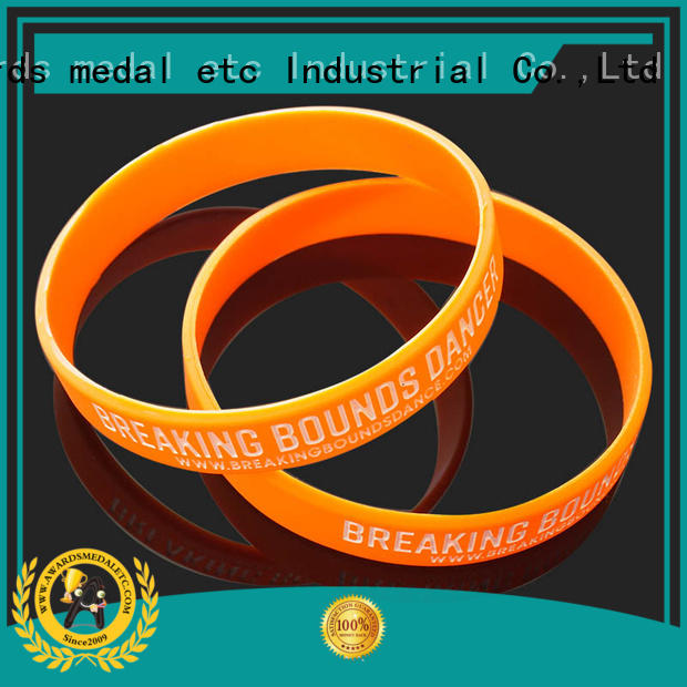 Awards Medal commercial printed silicone wristbands exporter for sport